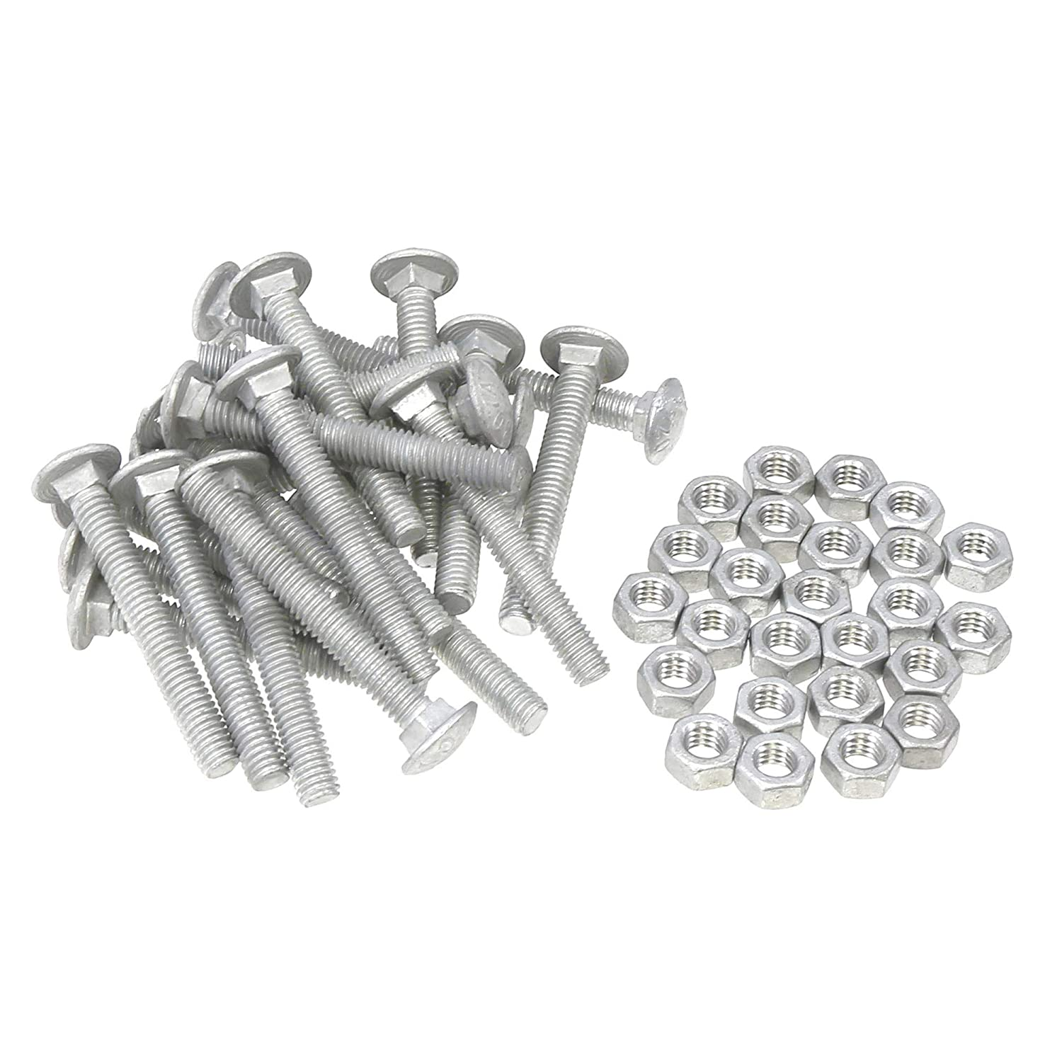 Set of 25 Galvanized Steel 5//16 x 2 1//2 Long Carriage Bolts with Nuts