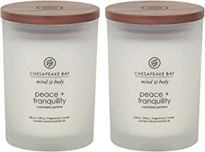 Chesapeake Bay Candle PT31902-2 Scented Candles, Peace + Tranquility (Cashmere Jasmine), Medium (2-Pack)