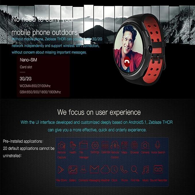 Zeblaze Thor 3 g Bluetooth Reloj Inteligente Android 5.1 OS ...