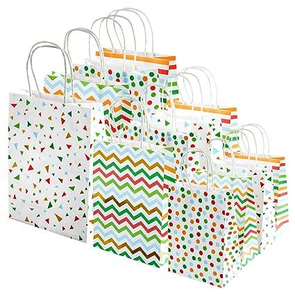 MOOKLIN ROAM Juegos de 12 Bolsas para Regalos, Bolsa de Papel Kraft Blanco con Asas Rizadas en 3 tamaño distintos 4 colores para cumpleaños Navidad ...