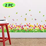 2PC Skiring Wall stickers Butterfly Play With Chrysanthemum Wall Decal For Kids Room Bedroom Living Room Kitchen (Tulip)