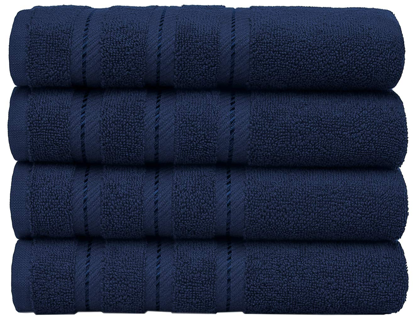 Luxury Hotel and Spa Quality, 100% Ring Spun Genuine Cotton, 16x30 Inches 4-Piece Turkish Hand Towel Set for Maximum Softness and Absorbency, Dry Quickly by American Soft Linen, Navy Blue