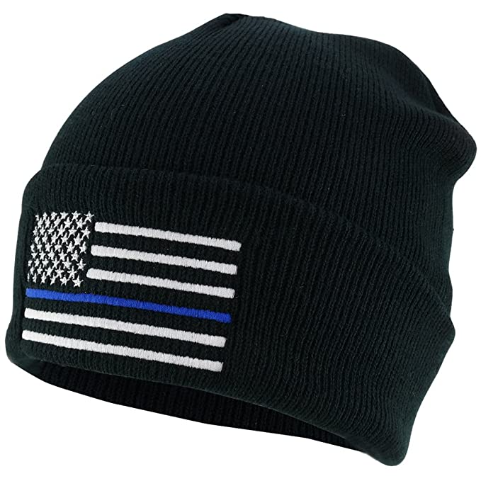 5514c201d8282 Armycrew Thin Blue Line American Flag Embroidered Winter Watch Cap Cuff  Beanie - Black