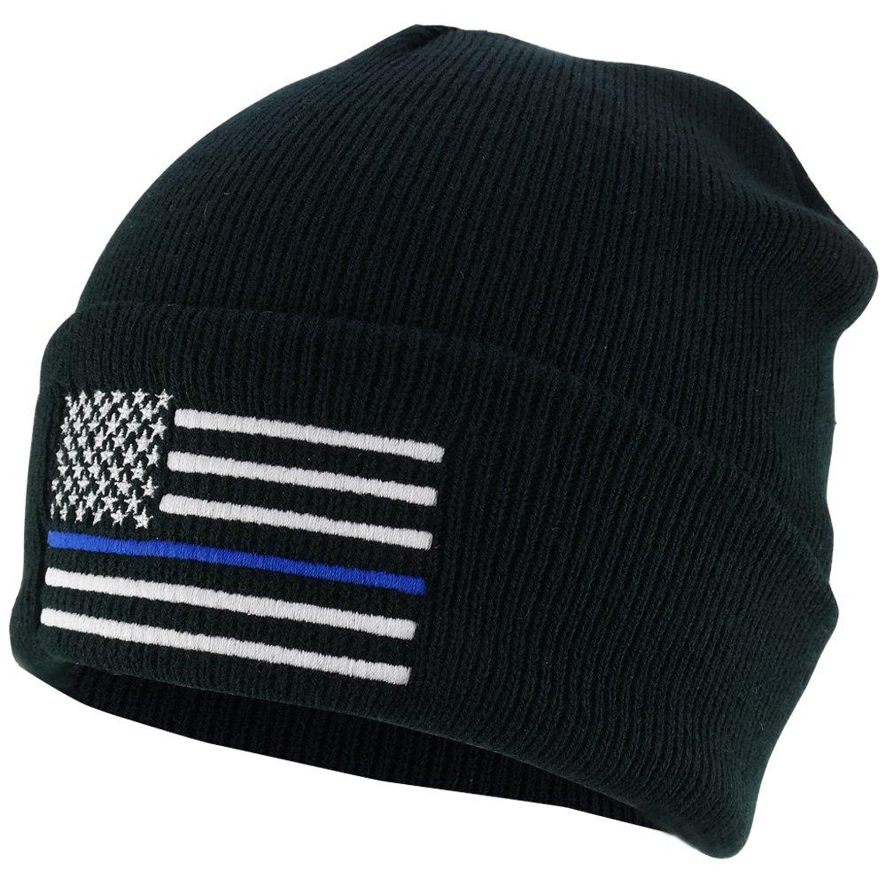 a748de022da88b Armycrew Thin Blue Line American Flag Embroidered Winter Watch Cap Cuff  Beanie - Black