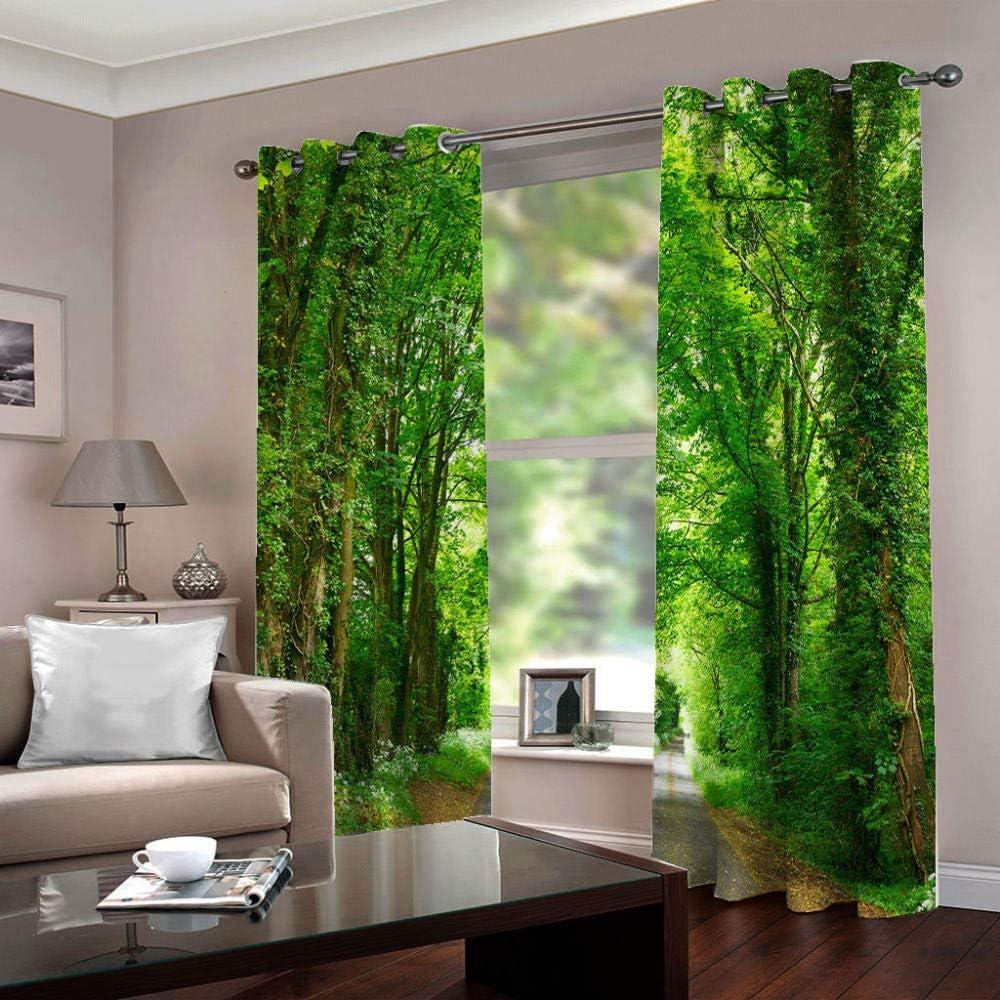 LIGAHUI Eyelet Blackout Curtains Big green tree 2x W46x L54 inch Thermal Insulated Room Darkening Curtains for Plain Room darkening Nursery Bedroom Windows treatment