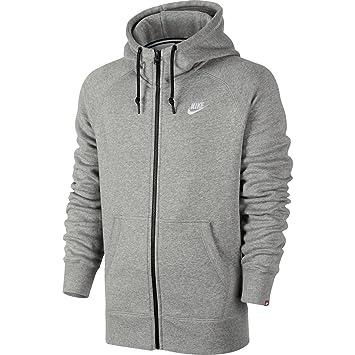 fc9c9ac006be Nike Herren Kapuzenjacke Fleece Full-Zip, dk grey heather white, XXL ...