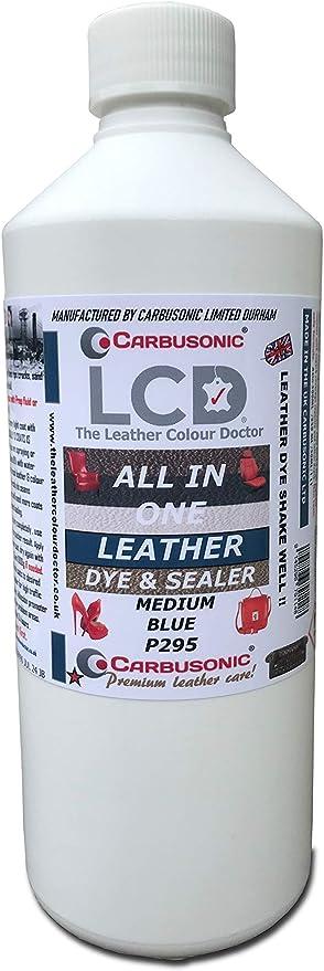 Tinte y sellador de cuero azul, para piel, piel sintética y vinilo, asientos de coche, sofás, sofás, bolsos, zapatos y mucho más, 500 ml