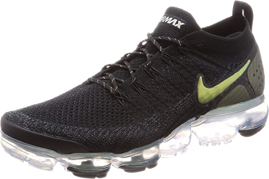 ec81b849630 Nike Men s Air Vapormax Flyknit 2 Black Multi Color Metallic Silver Knit Running  Shoes