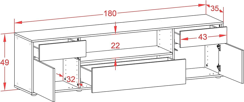 Korpus in Weiss Matt//Front im Holz-Design Eiche Made in Germany mit Push-to-Open Technik und Hochwertigen Leichtlaufschienen Stil.Zeit TV Schrank Lowboard Biggi 180x49x35cm