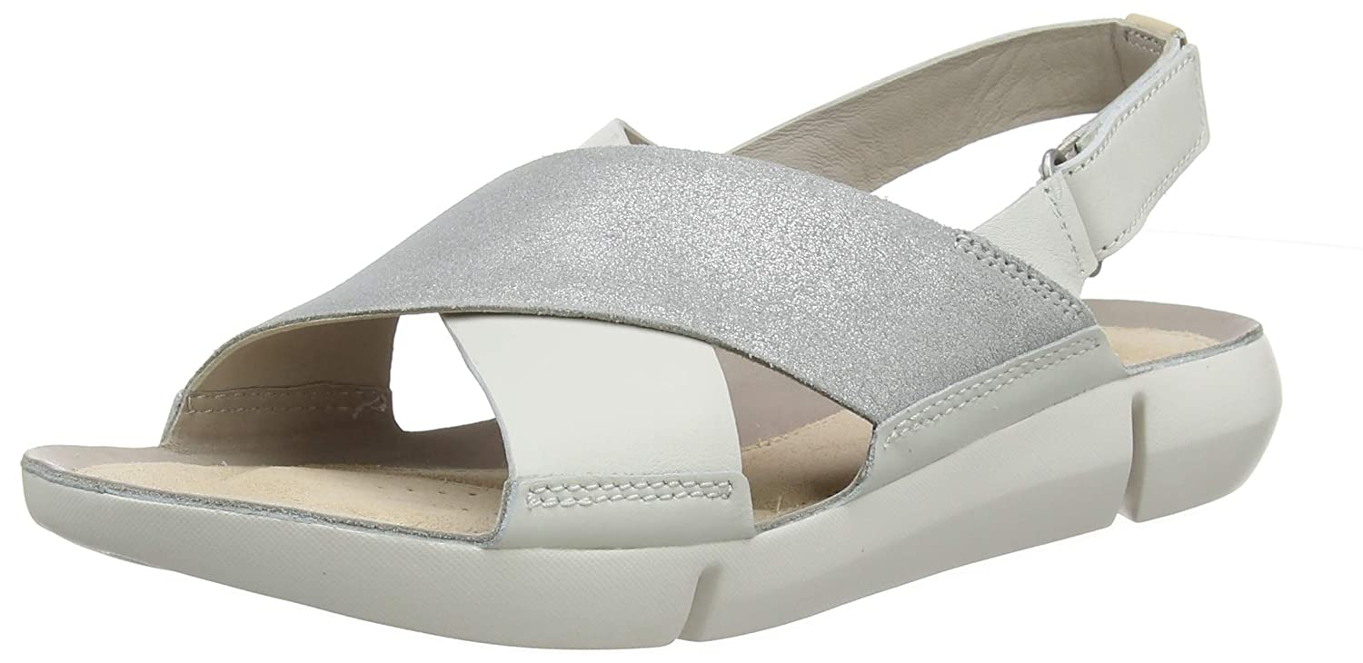 3bc44bdbcb09d Clarks Tri Chloe Leather Sandals in White Silver  Amazon.co.uk  Shoes   Bags