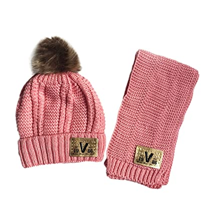 b43688ec444 Image Unavailable. Image not available for. Color  Suma-ma Cute Winter Hats  Keep Warm Cute Hat Scarf Set 2Pcs Kids Baby (