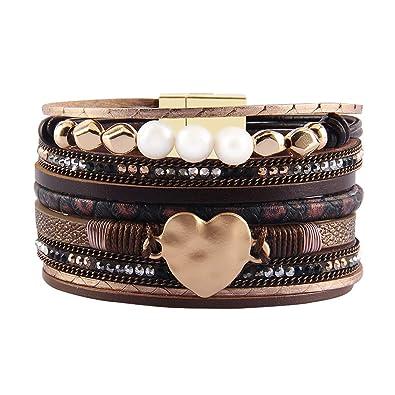 abe08d4c940cdf JAOYU Bracelet Cuir Filles Les Femmes Aiment Le Coeur Bracelets Bracelet  Manchette Perle Bijoux - Cadeaux de Noël pour Les Enfants