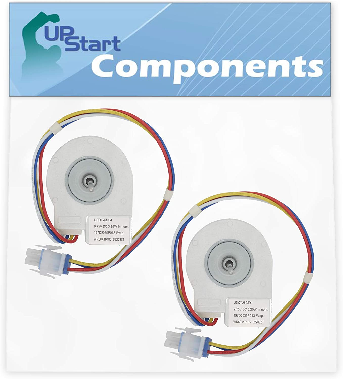 AH1019114 PS1019114 197D2039P007 197D2039P008 2-Pack WR60X10185 Evaporator Fan Motor Replacement for General Electric Refrigerator EA1019114 Compatible with Part Number AP3875639 1170107