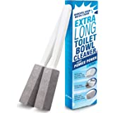Pumice Stone Toilet Bowl Cleaner with Extra Long Handle, 2 Pack! - Limescale Remover - 100% Natural Pumice Toilet Brush - Als