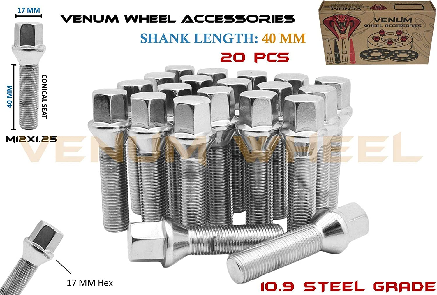 Venum wheel accessories Complete Set of M12x1.25 Chrome Tapered Conical Seat Lug Bolts 40 MM Extended Shank Length Works with Jeep Fiat Dodge Chrysler Alfa Romeo Factory & Aftermarket Wheels