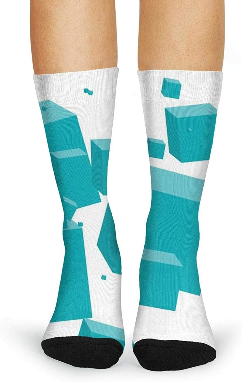 XIdan-die Womens Over-the-Calf Tube Socks Light Blue Cubes Moisture Wicking Casual Socks