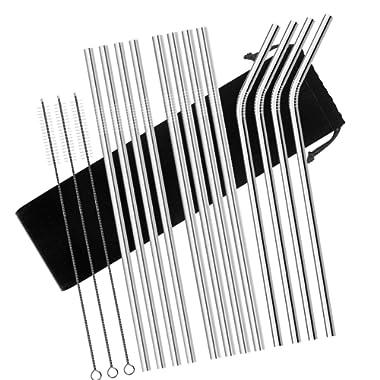 Stainless Steel Straws, Chacca Set of 12, 10.5 Inch Metal Straws Fit into 20oz 30oz YETI Ozark Tumblers