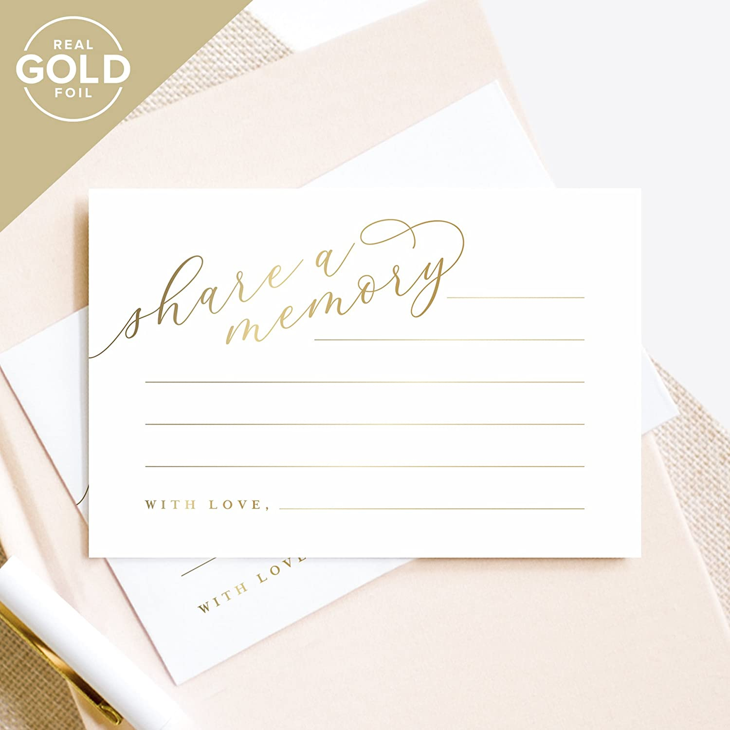 Gold Share A Memory Cards - Perfect for: Funeral, Celebration of Life, Memorial, Retirement, Going Away Party, Birthday, Graduation, Wedding - 50 Pack of 4x6 Cards from Bliss Paper Boutique