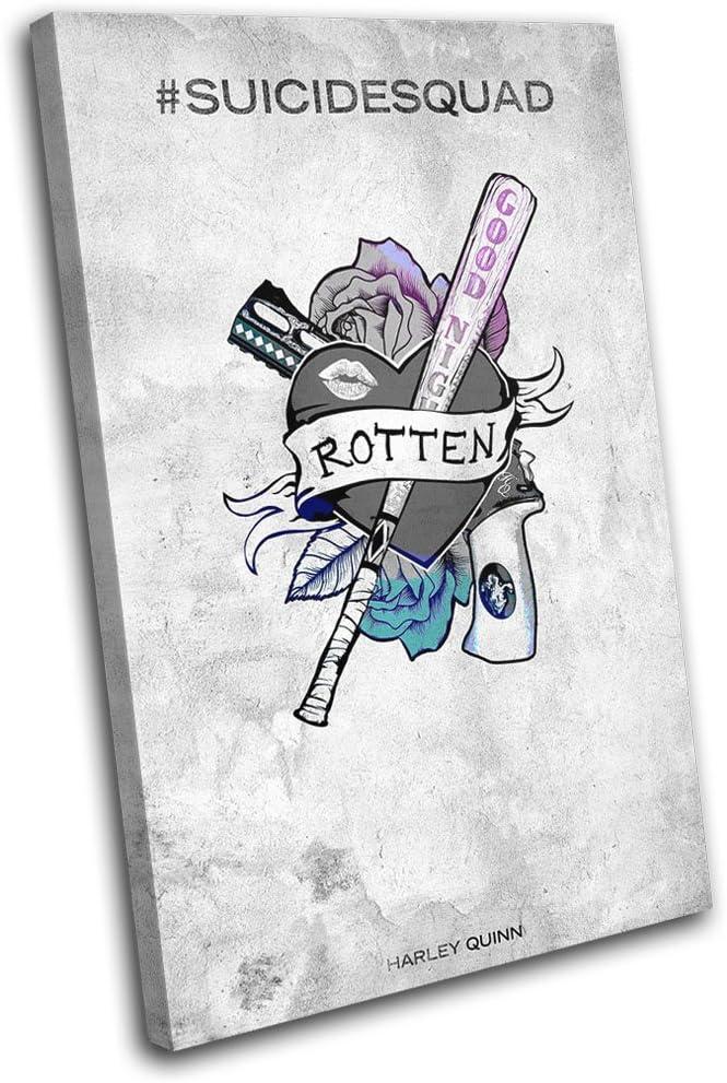 Suicide Squad Harley Quinn Baseball Bat Canvas Wall Art Picture Print 45x30cm