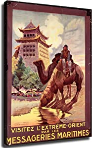Camels Watering in front of the Gates of Pekin, poster advertising the 'Messageries Maritimes', c.1920 Poster Picture Art Print Canvas Wall Art Home Living Room Bedroom Decor Mural (8×12inch-Framed)