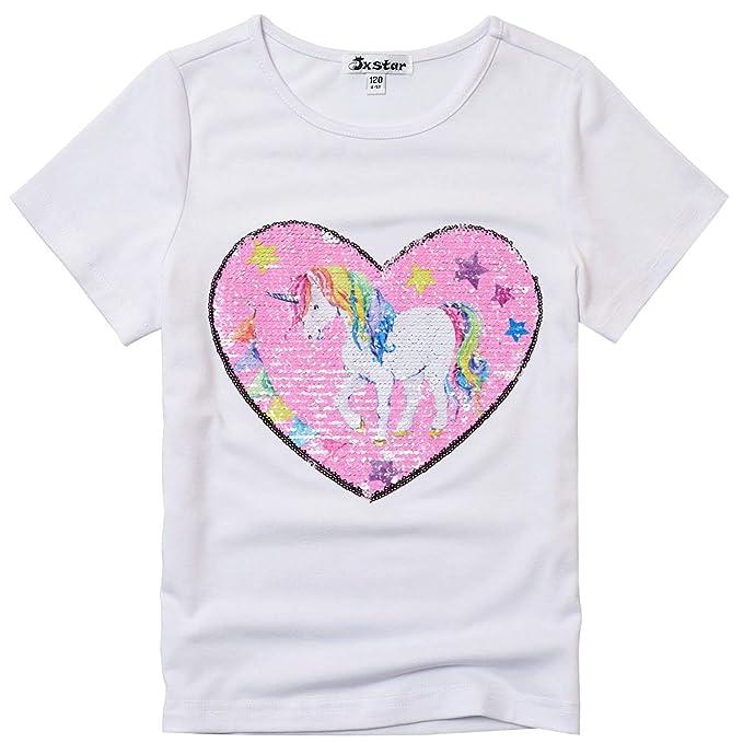cc43e5ee Big Girls Unicorn Applique Tops Flip Sequin Shirts Summer Clothes Girls 10  12