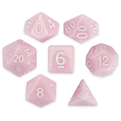 Wiz Dice Cherry Blossom Set of 7 Polyhedral Dice, Solid Pastel Millennial Pink Tabletop RPG Dice with Clear Display Box: Toys & Games