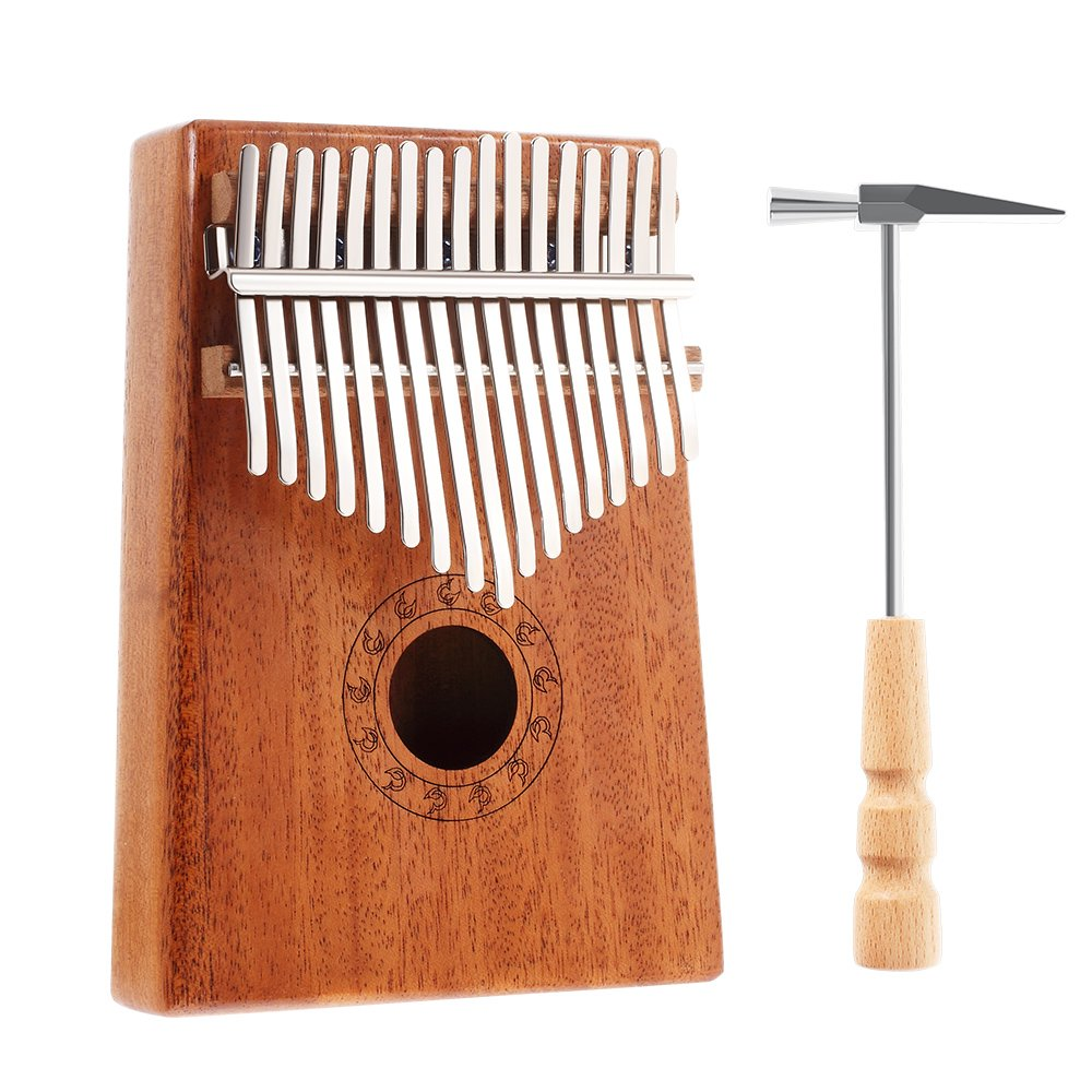 Dreamsoule 17-Key Mahogany Kalimba Thumb Piano Mini Wooden Finger Piano | Mbira Music Instrument with Tuning Hammer, Perfect for Music Lovers Beginners and Children 17K