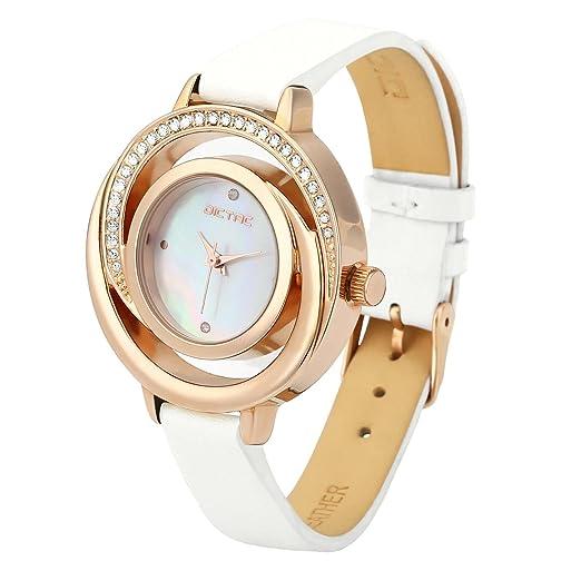 0a2debd46757 Dictac Reloj de Pulsera Mujer de Cuero Genuino Forma de Concha con Diamantes  (Blanco)
