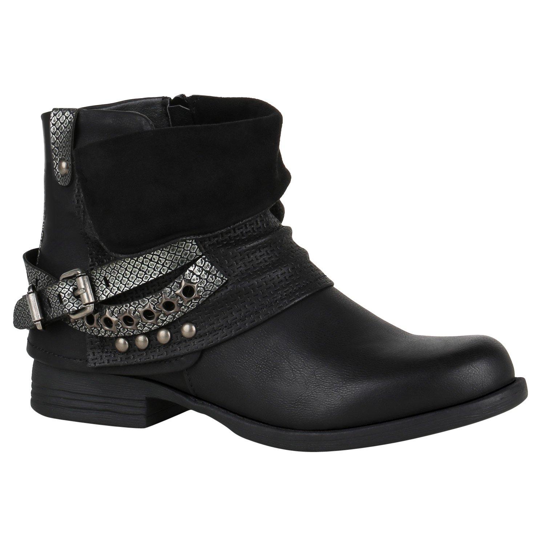 Stiefelparadies Damen Stiefeletten Biker Boots mit Blockabsatz Schnallen Nieten Flandell Schwarz Glitzer