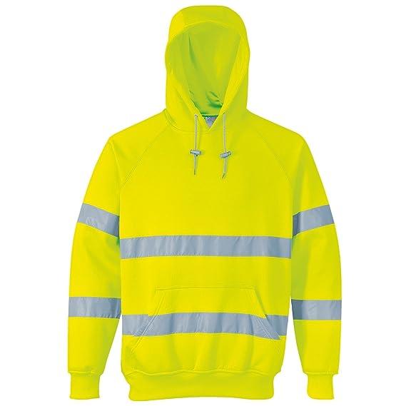 Portwest B304 Yellow Hi-Vis or Hi-Viz Hooded Sweatshirt Hoodie Hoody Small -