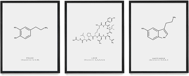 Wunderkammer Studio - Peace Love & Happiness Molecule Poster Print - Scientific Wall Art - House Home Décor - Dopamine Oxytocin Serotonin - Set of 3 18 x 24 Unframed Art Prints