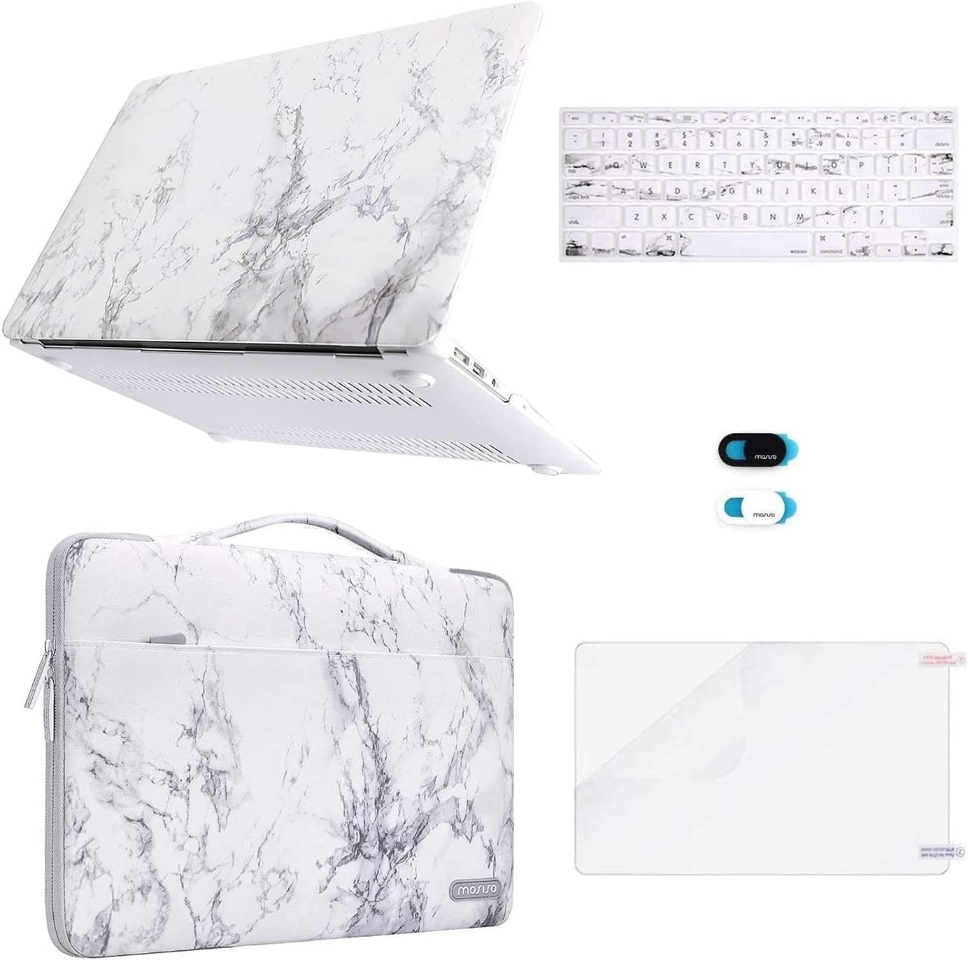 MOSISO Compatible with MacBook Air 13 inch Case (A1369 A1466, Older Version 2010-2017 Release), Plastic Hard Shell Case&Carrying Sleeve Bag&Keyboard Cover&Webcam Cover&Screen Protector, White Marble