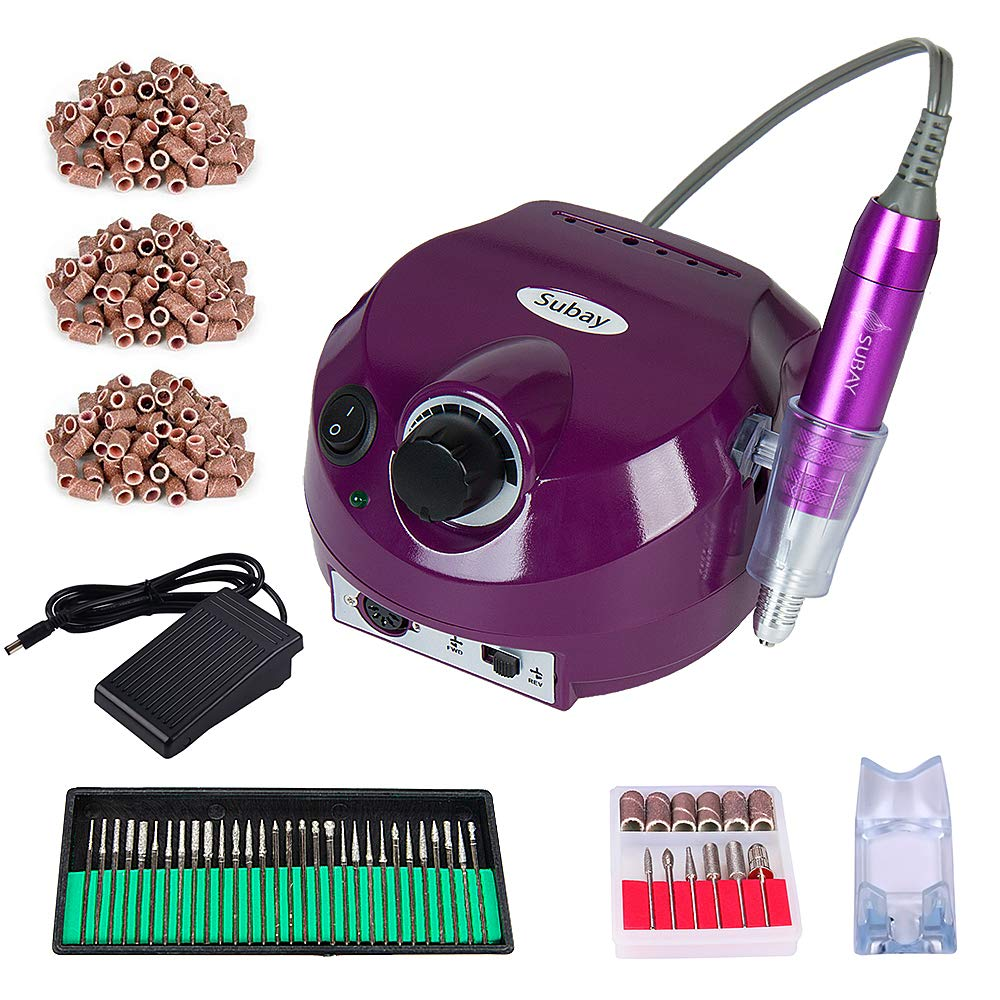 30,000RPM Professional Electric Nail Drill File Manicure Pedicure Machine Kit Set with Sanding Bands Accessory Finger Nail Tools for Nail Salon and Personal Use (Purple)