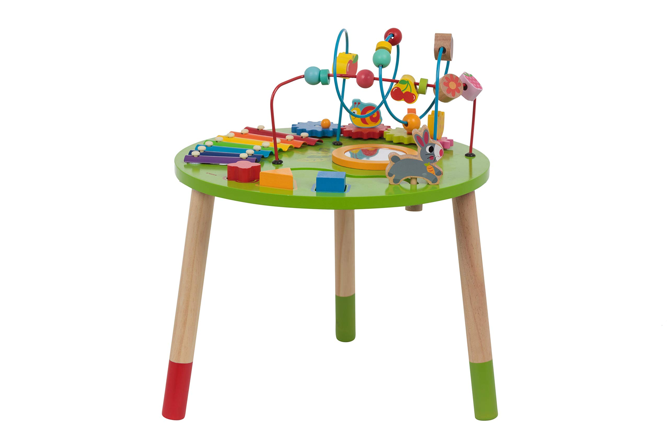 Wooden Activity Table for Toddlers | Multi-Purpose Children's Educational Learning Play Toy Set | Playset Easel with Bead Maze, Shape Block Puzzle for 1 Year Old Boy and Girls | ED435