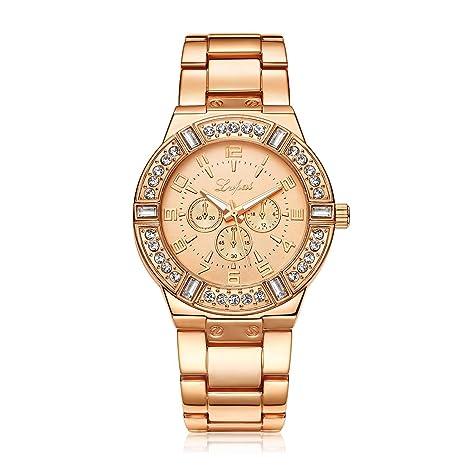 Mujeres Lady Watch Decoración de Diamantes de Imitación Reloj de Pulsera de Malla Redonda Aleación de