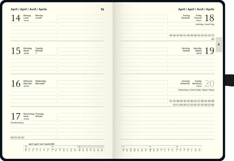 schwarz 2 Seiten = 1 Woche, 14,8 x 21,0 cm, Baladek-Einband, Kalendarium 2020 BRUNNEN 1079166 Buchkalender Modell 791 Kompagnon
