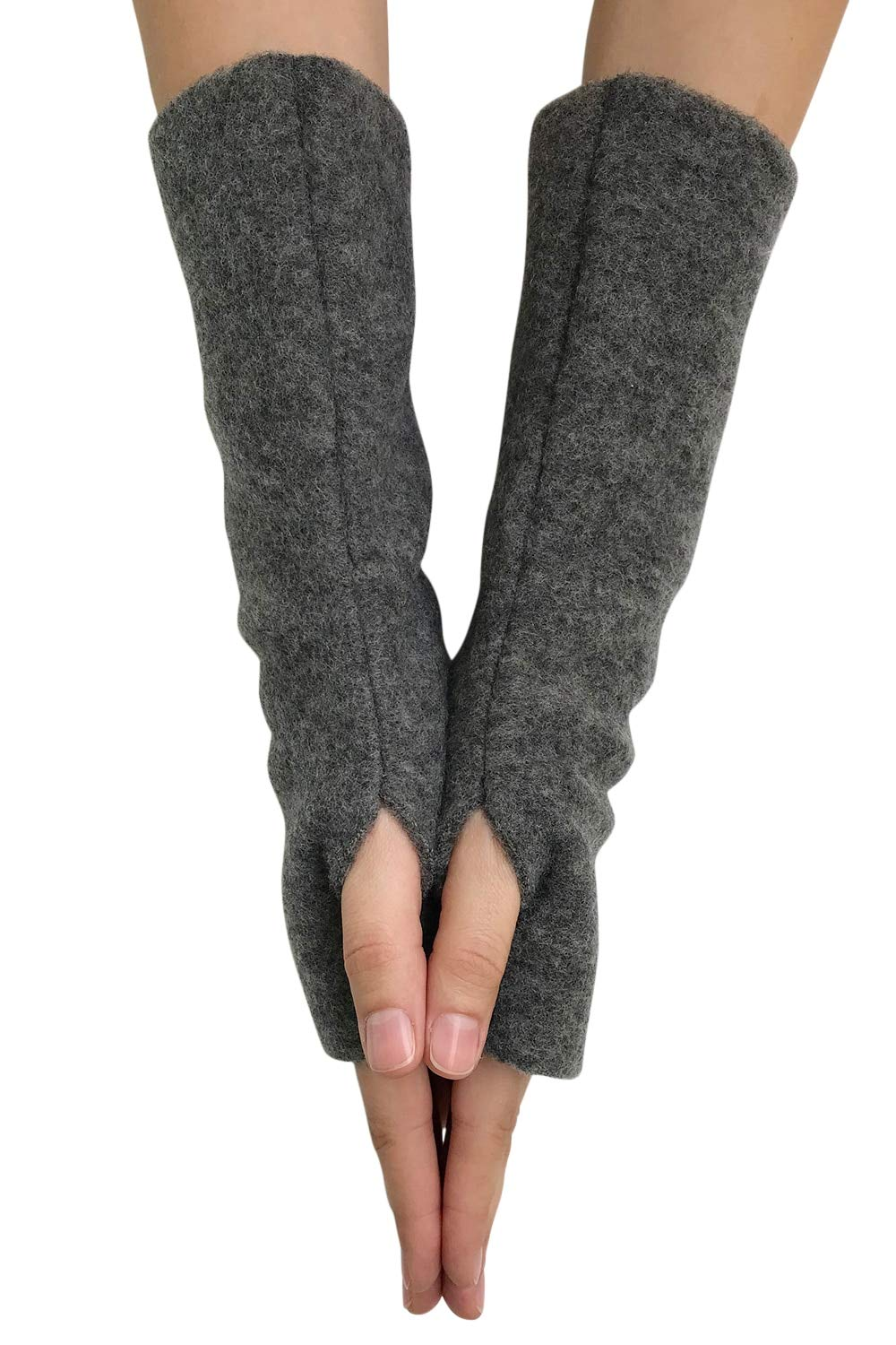 Women's Arm Warmer Sleeves - Fingerless Gloves with Thumb Holes, Pure Merino Wool Fleece (Grey Melange) by EcoAble Apparel (Image #4)