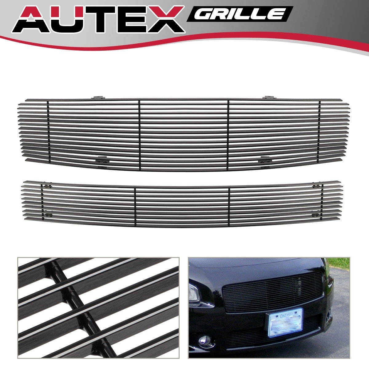 Lower Bumper Black Billet Grille Insert Combo Compatible with 2009 2010 2011 2012 2013 2014 Nissan Maxima Grill AUTEX N87774H Main Upper Grille