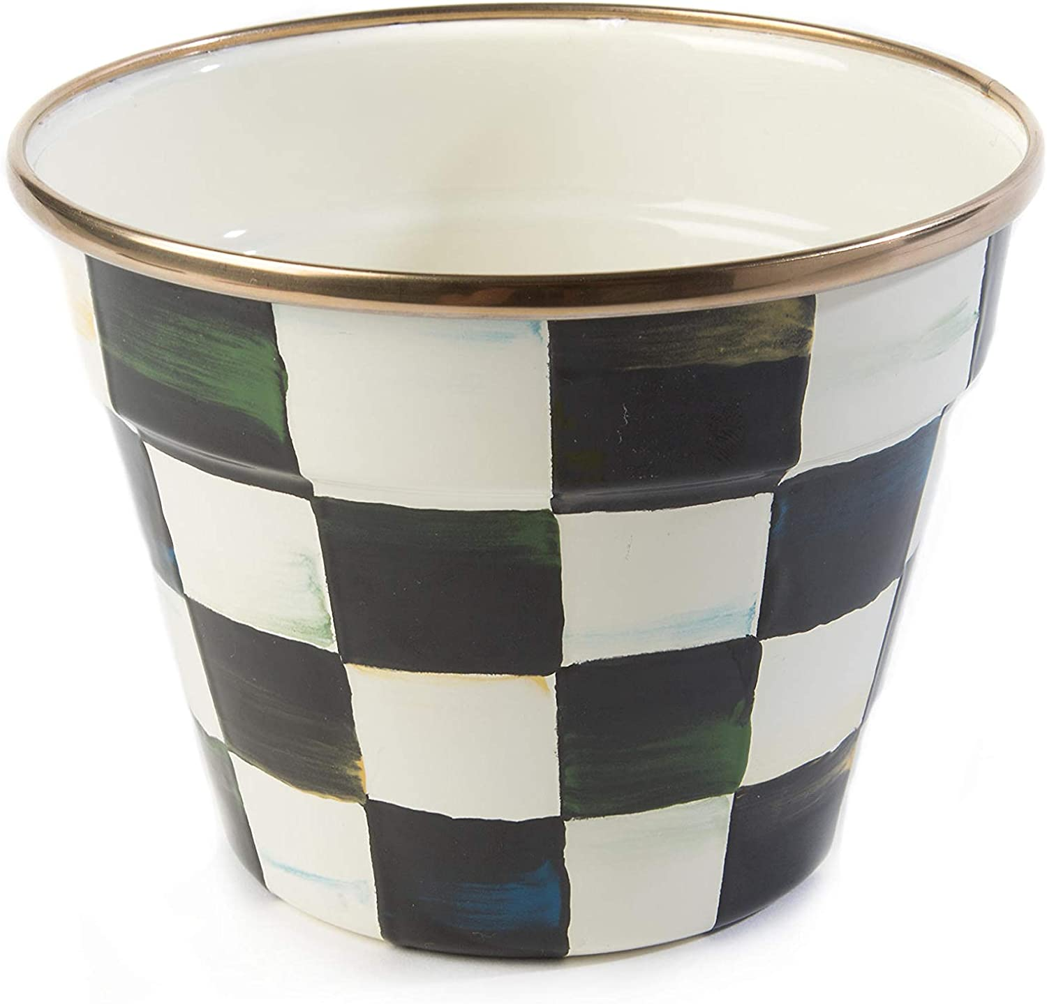 MacKenzie-Childs Courtly Check Garden Pot, Black-and-White Decorative Indoor Planter, Small