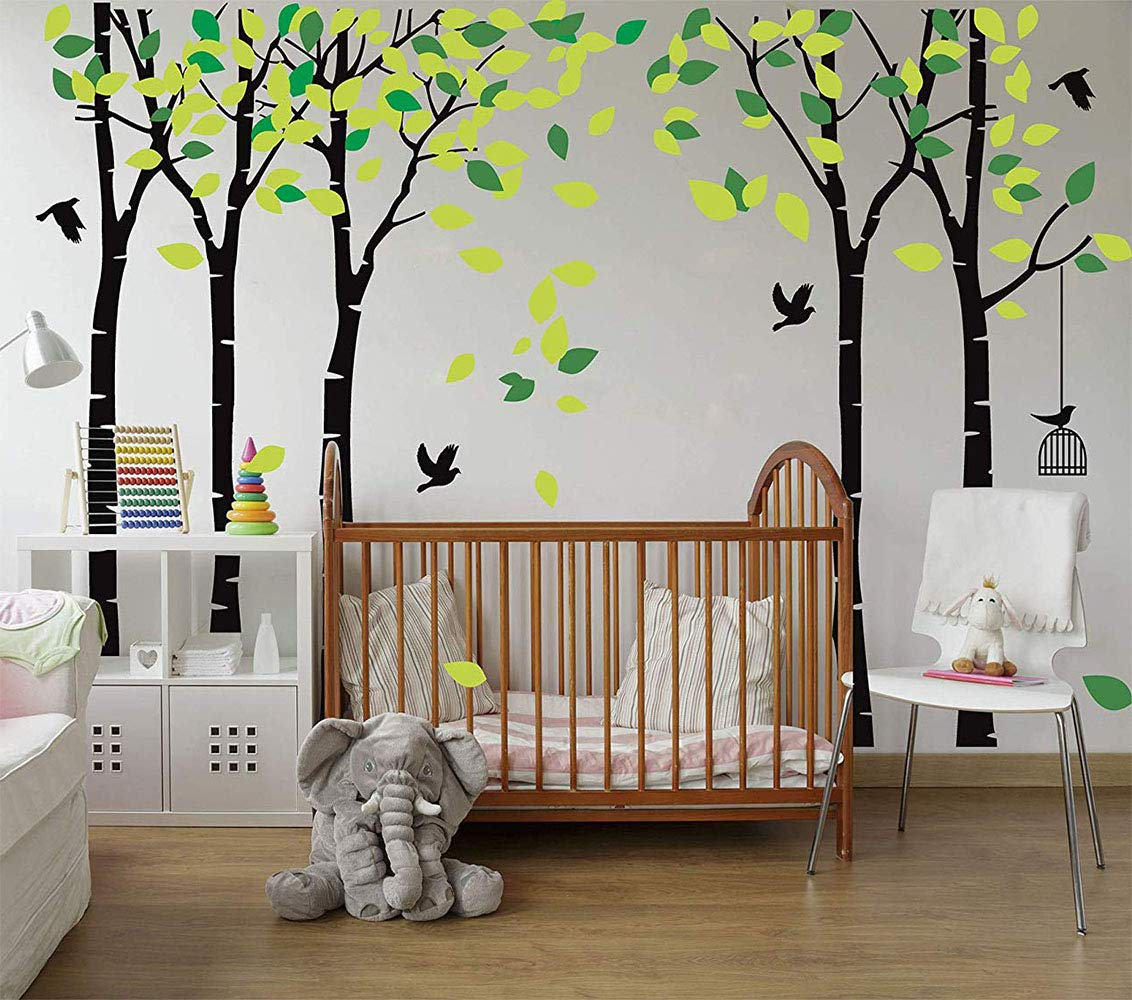 LUCKKYY Large Five Family Trees with Birds and Birdcage Tree Wall Decal Tree Wall Sticker Kids Room Nursery Bedroom Living Room Decoration (103.9x70.9) (Black)
