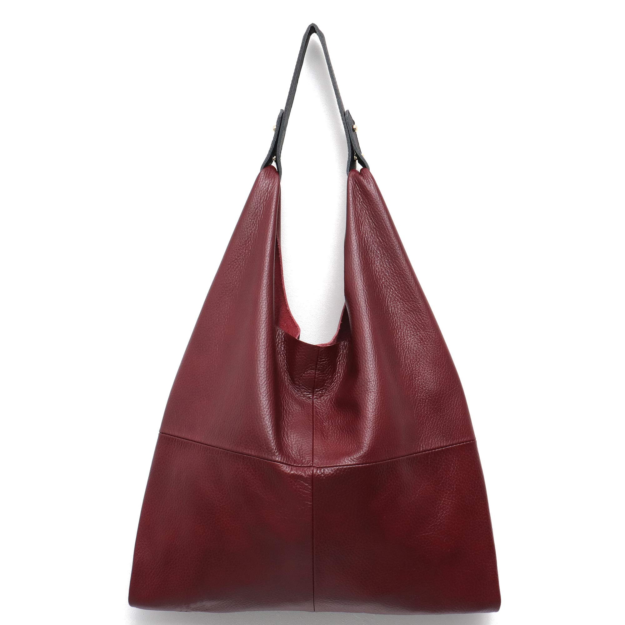 Women's Handbag STEPHIECATH Genuine Leather Slouchy Hobo Shoulder Bag Large Casual Soft Handmade Tote Bags Ladies Vintage Bucket Snap Shopping Bag with Zipper Cellphone Liner Bag Inside (Wine Red)