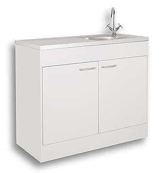 Mebasa Kpsp10064 Meuble Sous Evier Avec Evier Integre Blanc