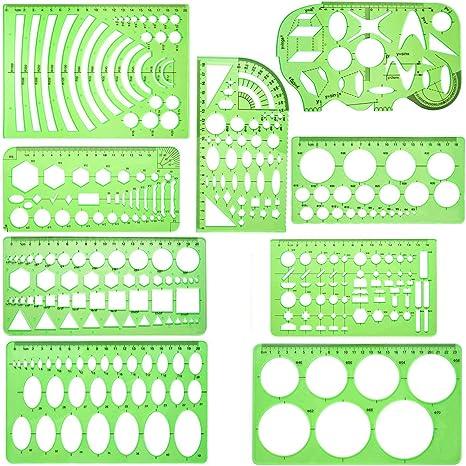 Kunststoff-Schablonen-Set f/ür Kinder Dreieck 2 St/ück geometrische Lineale Zeichnen B/ürobedarf Schule Kreis Lineal f/ür Studenten