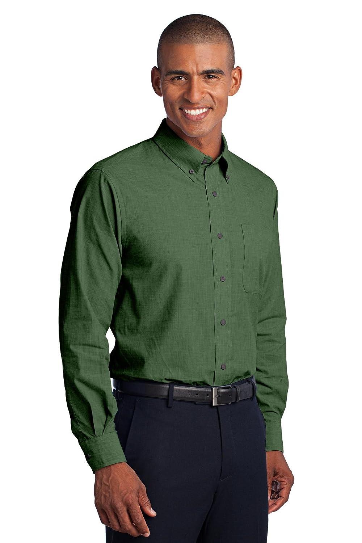 Port Authority Tall Crosshatch Easy Care ShirtLT Dark Cactus Green TLS640