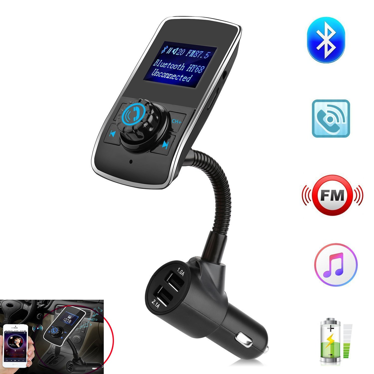 Bluetooth Car adapter,FM Transmitter&Music car charger,3.1A Dual USB Port Charger compatible for iphone,Samsung,XIAOMI,HUAWEI etc