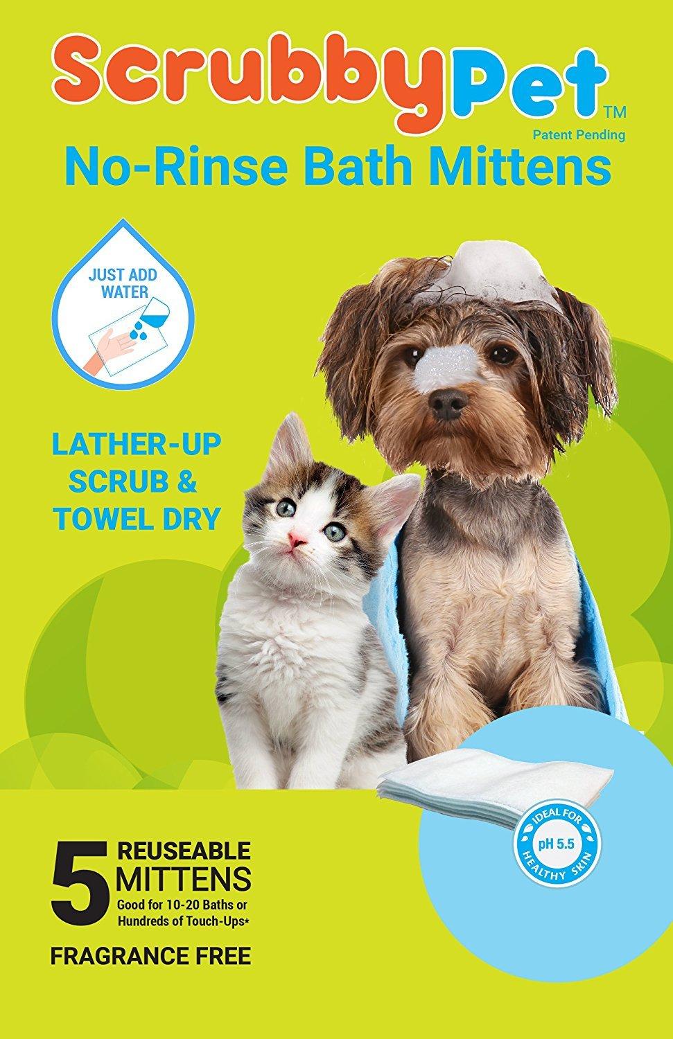 ScrubbyPet No Rinse Pet Wipes- Use Pet Bathing, Pet Grooming Pet Washing, Simple to Use,Just Lather, Wipe, Dry. Excellent Sensitive Skin. The Ideal Pet Wipes Bathing Your Pet Dog Cat.