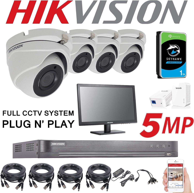 Hikvision DS-7204HUHI-K1 DS-2CE56H1T-ITM Sistema de cámaras de seguridad 4 K, DVR, 4 canales, 1 TB, H.265+ HIK 5 MP, 2,8 mm, visión nocturna