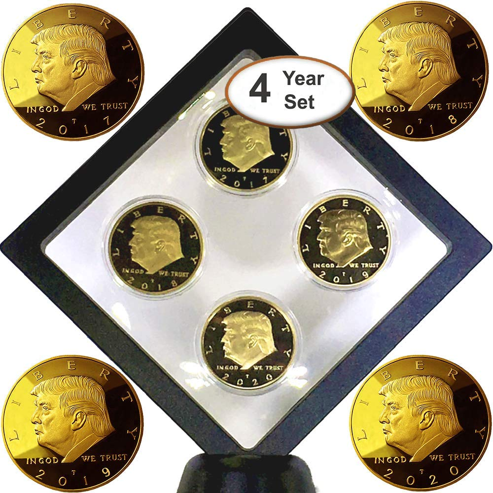 Donald Trump 4 Gold Coin Set, 45th 1st Term Presidential Collector's Edition, Commemorative Gold Plated Replica Coins 2017-2018 - 2019-2020, Diamond Display Case, Cert of Authenticity (Blk 1Pak)