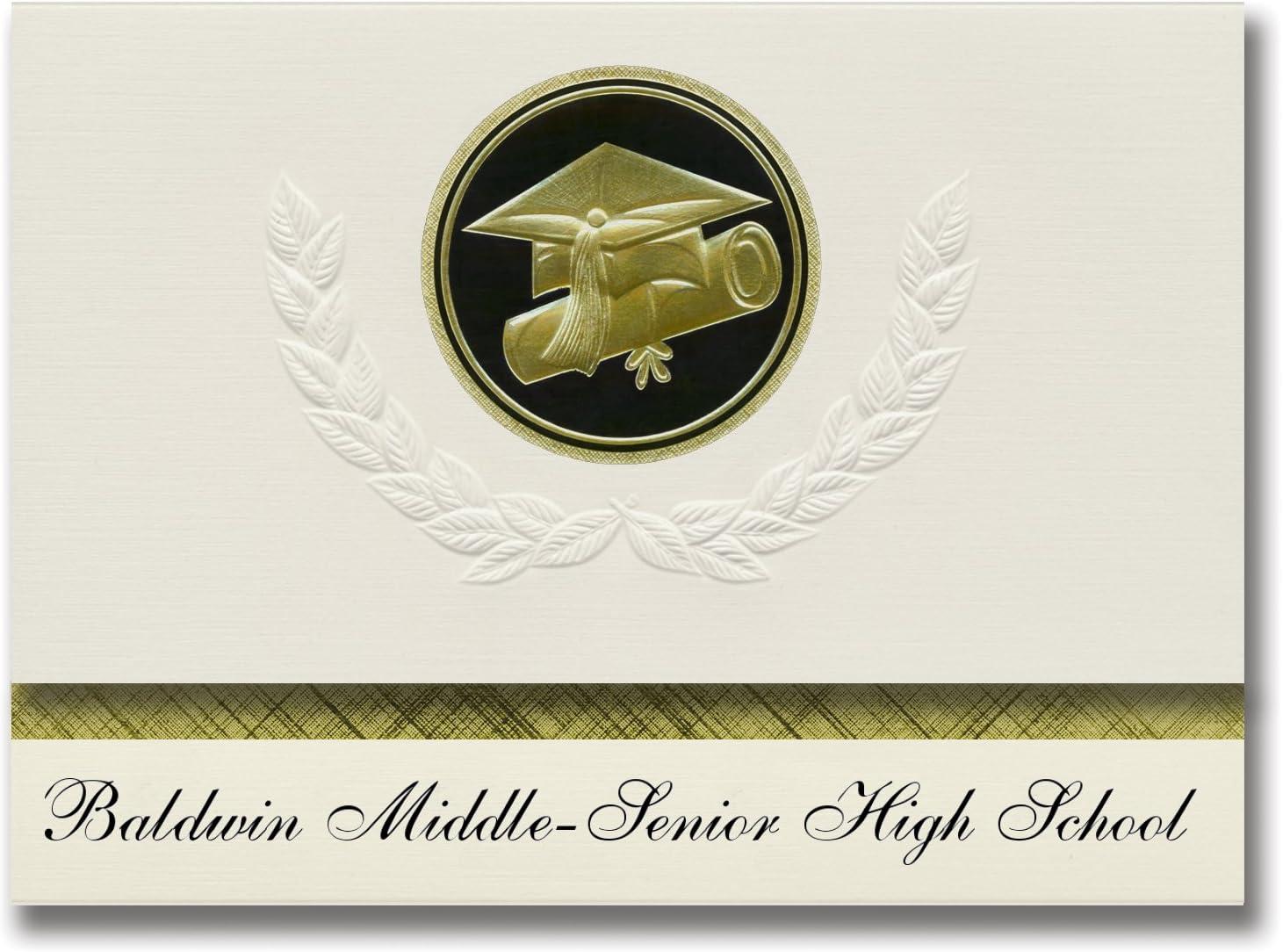 Signature Announcements Baldwin Middle-Senior High School (Baldwin, FL) Graduation Announcements, Presidential style, Elite package of 25 Cap & Diploma Seal. Black & Gold.
