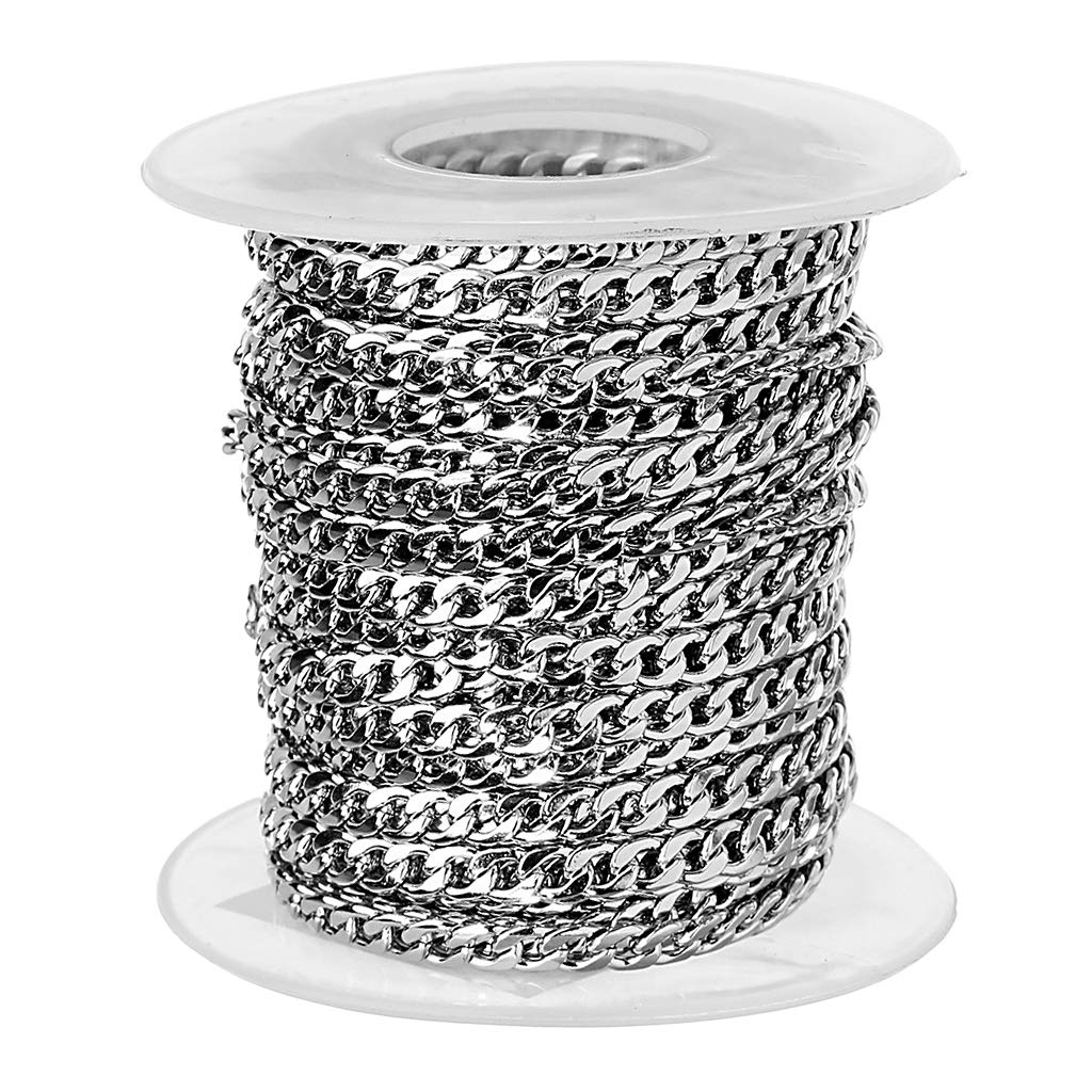 3 Sizes Fityle 10 Yards Stainless Steel Chain Curb Chain for Jewelry Making Replacement Extender Chain Necklace Bracelets Findings 3mm